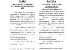 Bando ayudas extraescolares Lizoain-Arriasgoiti/Lizoainibar-Arriasgoitiko eskolaz kanpoko jarduetarako laguntzen bandoa