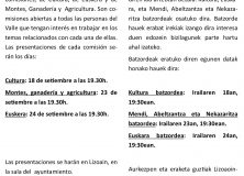 Presentación Comisiones en Lizoain-Arriasgoiti/Batzordeen eraketa Lizoainibar-Arriasgoitin